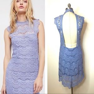 Free People lace body con open back dress Sz Lg